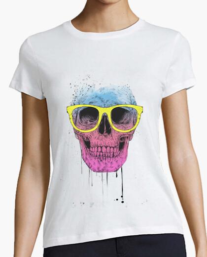 T-shirt pop art skull con gli occhiali