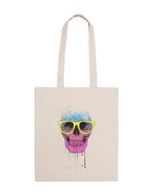 pop art skull con gli occhiali
