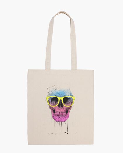 Bolsa Pop art skull with glasses