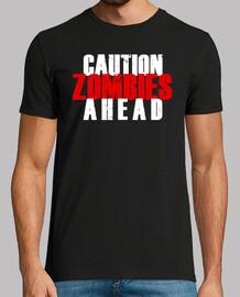 ¡precaución! zombis haead t-shirt