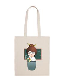 Professor kokeshi fabric bag