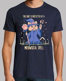 protetto da un incantesimo meowgical - camicia da uomo