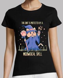 protetto da un incantesimo meowgical - camicia dei womans