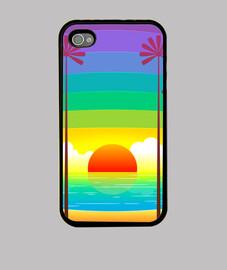 puesta de sol de colores