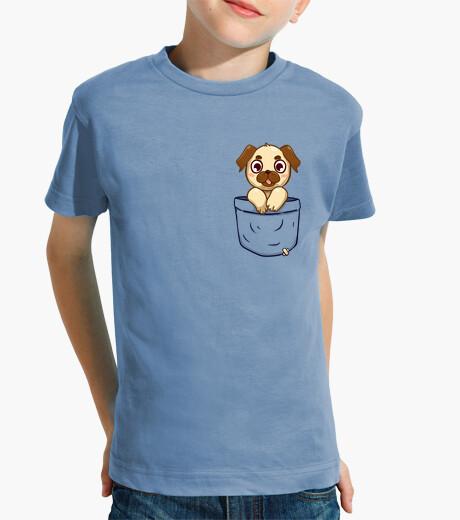 Ropa infantil pug del bolsillo - camisa de los niños
