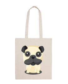 pug dog sitting fabric bag sitting