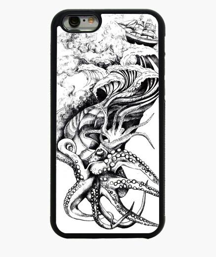 Funda iPhone 6 / 6S pulpo pirata del mar, barco y las olas