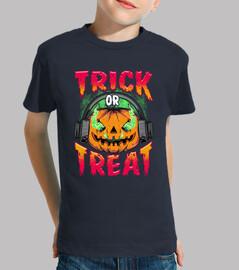 pumpkin trick or treat with headphones