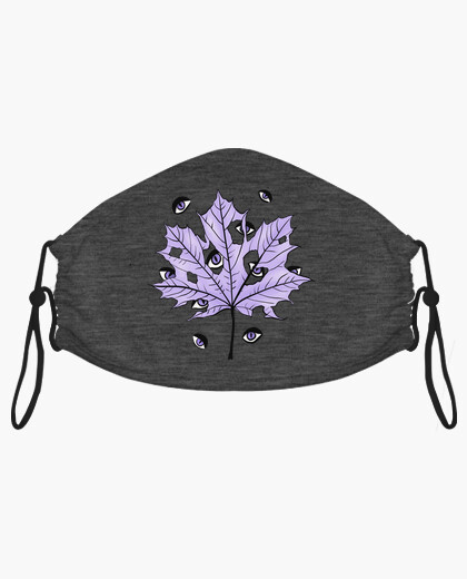 Purple Leaf With Spooky Eyes Gothic Art mask