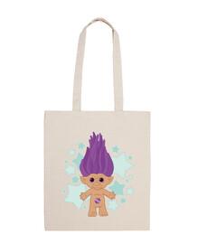 Purple Lucky Troll. Bolsa tela 100 algodón