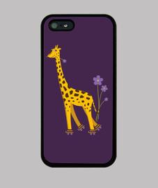 púrpura de la jirafa linda de la historieta de patinaje divertido