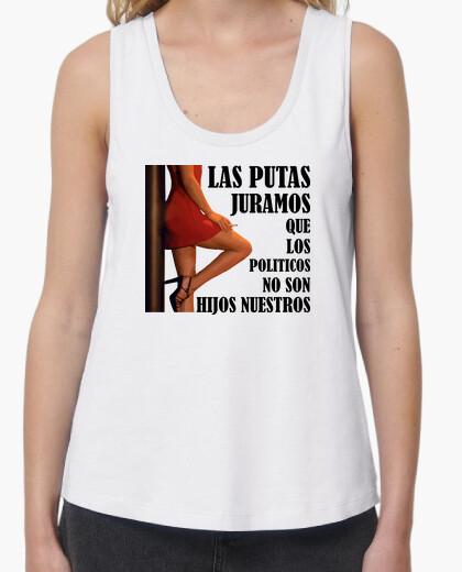 Putas y políticos - Camiseta de chica de tirantes de corte extra largo y ancho