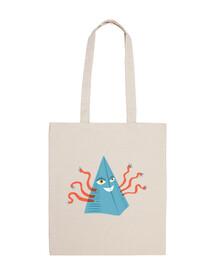pyramide bleue étrange avec des tentacu