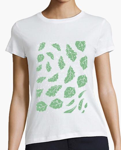 Camiseta Quercus robur - Diseño hojas roble nieve