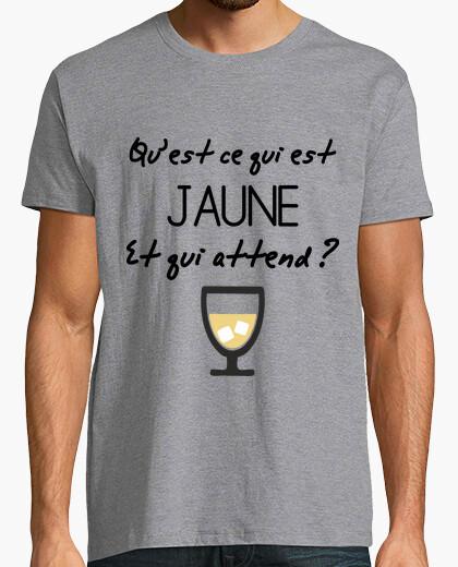 Tee-shirt Qu'est ce qui est jaune et qui attend ? Pastis