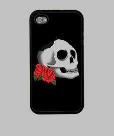 """Skull and Roses"" Funda iPhone 4"