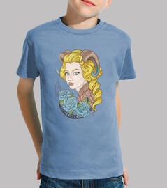 ragazza con le corna e rose blu