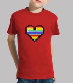 ragazza del ragazzo del pixel di colore del cuore