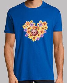 Ramo de flores, Hombre, manga corta, azul royal, calidad extra