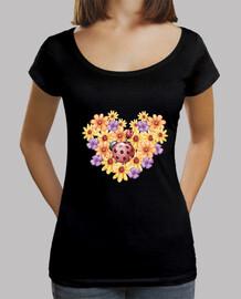 Ramo de flores, Mujer, cuello ancho & Loose Fit, negra