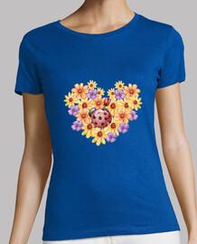 Ramo de flores, Mujer, manga corta, azul cielo, calidad premium
