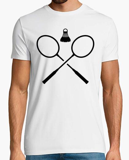 Camiseta raquetas de bádminton cruzados