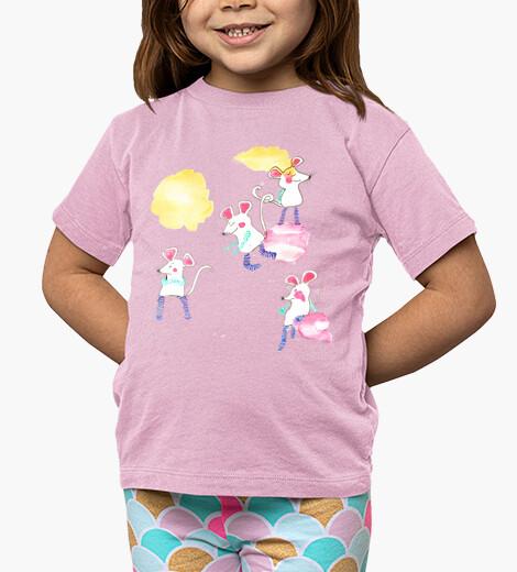 Ropa infantil RATONCITOS camiseta niño rosa