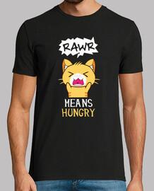 Rawr significa tengo hambre en gato camiseta divertida de gatito anime