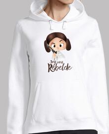 rebel-donna jersey con cappuccio, bianco