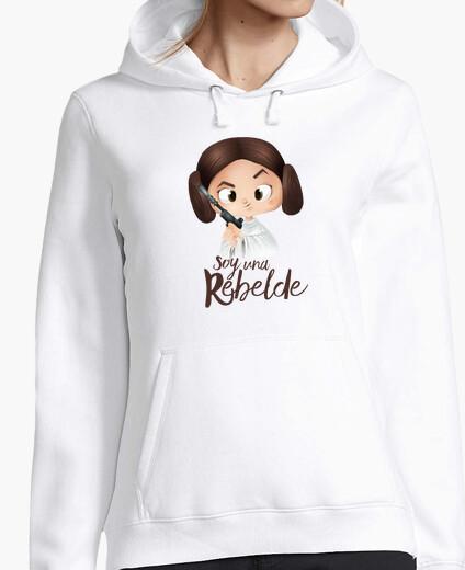 Rebel-woman, hooded sweater, white hoody
