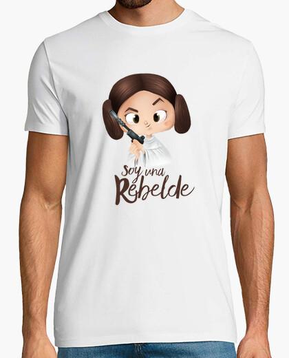 Camiseta Rebelde-Hombre, manga corta, blanco, calidad extra