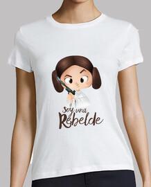 Rebelde-Mujer, manga corta, blanca, calidad premium