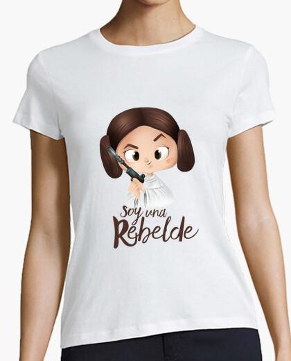 Camiseta Rebelde-Mujer, manga corta, blanca, calidad premium