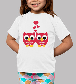 Red owls hearts
