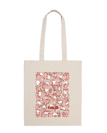 red panda spread tote bag