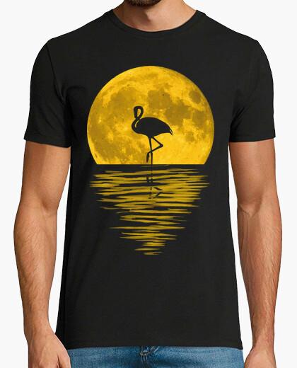 Camiseta Reflejo Luna llena y flamenco