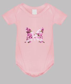 regalo della ragazza, farfalla rosa, fiori rosa / corpo del bambino,
