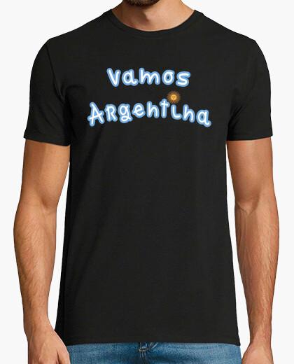 422338618 Camiseta Remera Vamos Argentina (Delante) - Bandera Argentina (Detras)