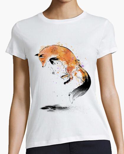 Tee-shirt renard roux sautant dans la neige