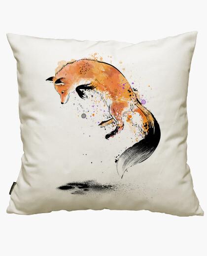 Housse de coussin renard roux sautant dans la neige