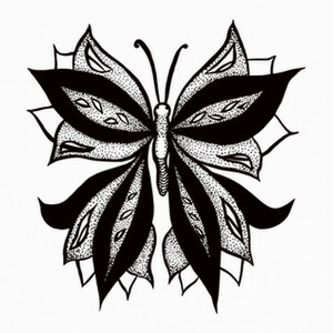Resumen mariposa en puntos tinta dibujo T-shirts