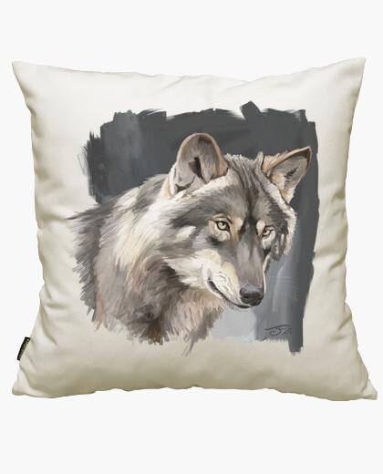 Funda cojín Retrato de Lobo ibérico 2