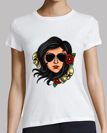 rétro pinup shirt vintage skulls roses