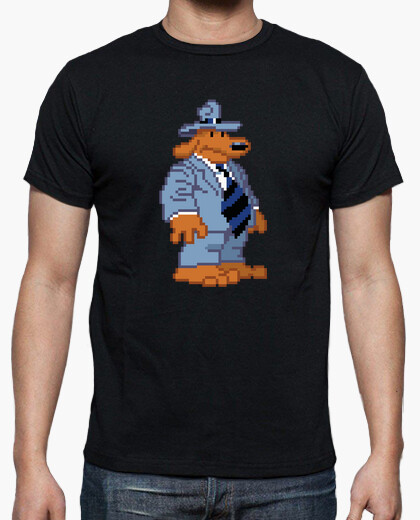 Retro pixel dog sam sam and max t-shirt