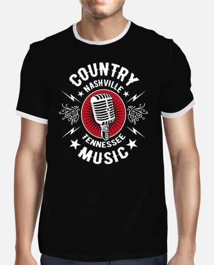 retro t-shirt country music microphone rockabilly nashville memphis tennessee rock n roll