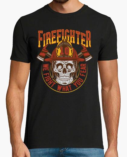 Retro t shirt firemen vintage skull fireman t-shirt