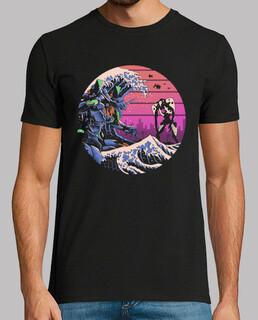 retro wave eva shirt hombre
