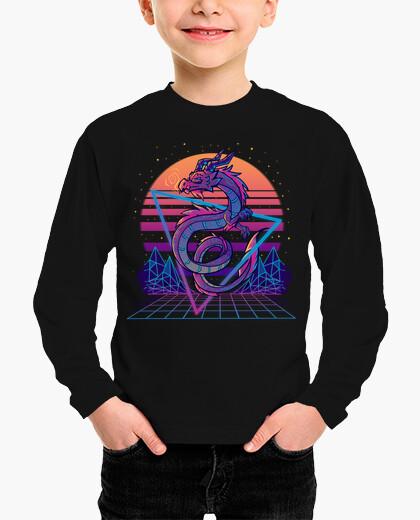 Ropa infantil retrowave dragon aesthetic - camisa para niños