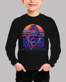 retrowave dragon aesthetic - camisa para niños
