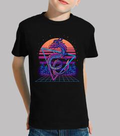 RetroWave Dragon Aesthetic - Kids Shirt